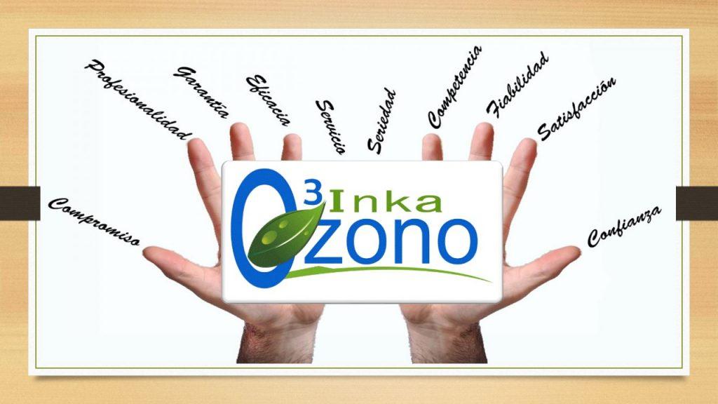 Manos con palabras de confianza comercial con logo Inkaozono